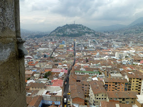 Photo: The Panecillo (soft roll of bread), hill topped by statue of Virgin