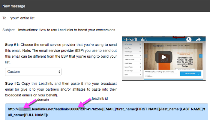 Leadlink in a non-Drip email