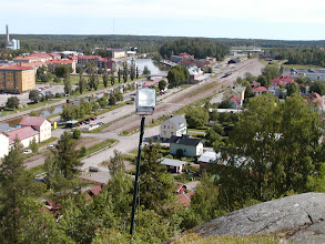 Photo: Soderehamn along the river from Oscarsborg Tower hill - June 2002. Note same building at right end of bridge as in previous picture