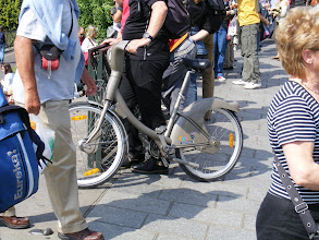 """Photo: Our first view of a Velib (a contraction of """"velo libre,"""" meaning """"free bicycle""""), the very popular city-sponsored system of rental bicycles begun in mid-2007. There are about 20,000 in the city, and we encounter them frequently."""