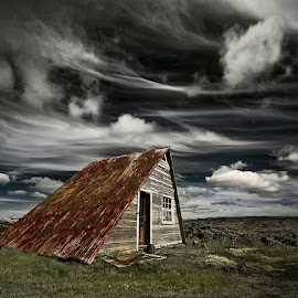 Weathered  by Þorsteinn H. Ingibergsson - Buildings & Architecture Homes ( clouds, cabin, iceland, sky, nature, structor, landscape, abandoned )