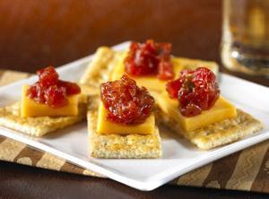 Cheddar And Tomato-jam Canapés Recipe