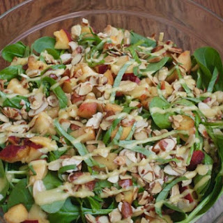 Peach and Spinach Salad with Basil.