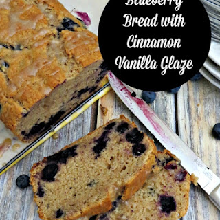 Blueberry Bread with Cinnamon Vanilla Glaze.
