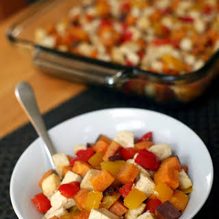 Roasted Tofu, Sweet Potato, Pepper 1-Pan Meal.