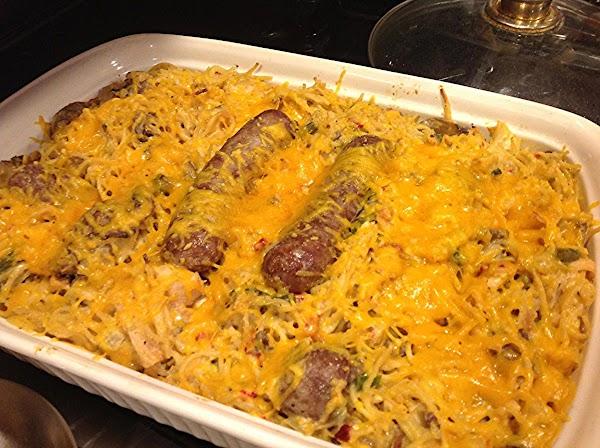 Chicken & Sausage Spaghetti Casserole Recipe