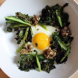 Egg with Crispy Kale and SautéEd Mushrooms Recipe