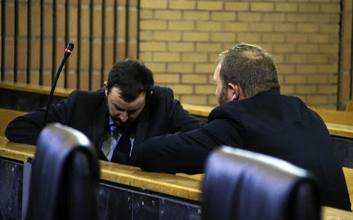 Phillip Schutte and Pieter Dooreward appear in the North West High Court facing a murder charge.