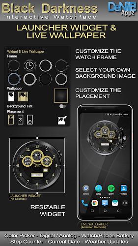 Download Black Darkness HD WatchFace Widget Live Wallpaper APK