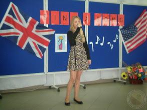 """Photo: K.Bagińska w Miejskim Konkursie Piosenki Angielskiej """"Sing a Song"""""""