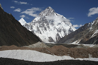 Photo: K2 from Concordia. The face towers almost 4 vertical km above the Godwin Austin Glacier.