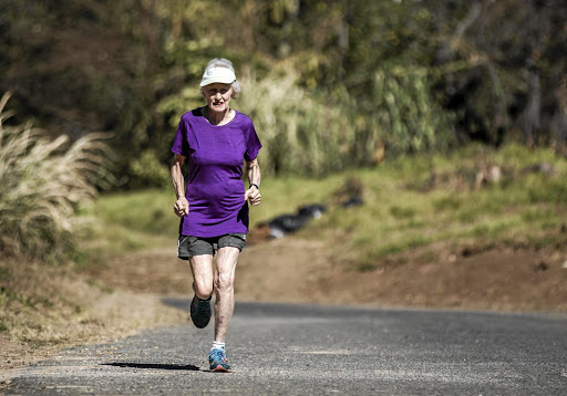RUN IN THE FOREST, RUN: Joburg's Deirdre Larkin, 85, holder of the half-marathon world record in the 85+ category Picture: GULSHAN KHAN/AFP