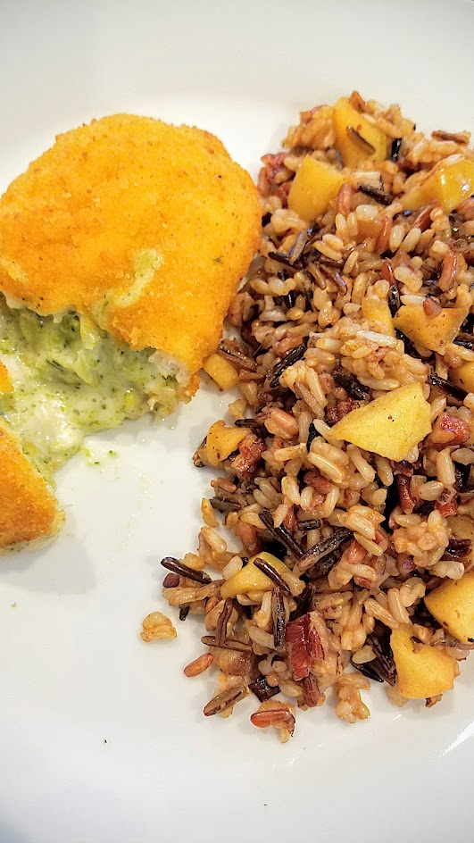 Wild Rice Recipe with Apples and Pecans - a great textural dish that also celebrates apples in the fall and is a wonderful side dish to many mains, here with a chicken breast stuffed with broccoli and cheese