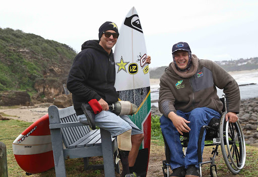 TOP FORM: Western Cape paraplegic surfer Dries Millard met East London surfer Jean-Paul Veaudry at Nahoon Reef yesterday. They will represent South Africa at the World Adaptive Surfing Championships Picture: MARK ANDREWS