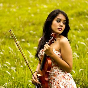 lady violin I by Dodi Yoga - People Portraits of Women ( commove, deemozart, sarah )