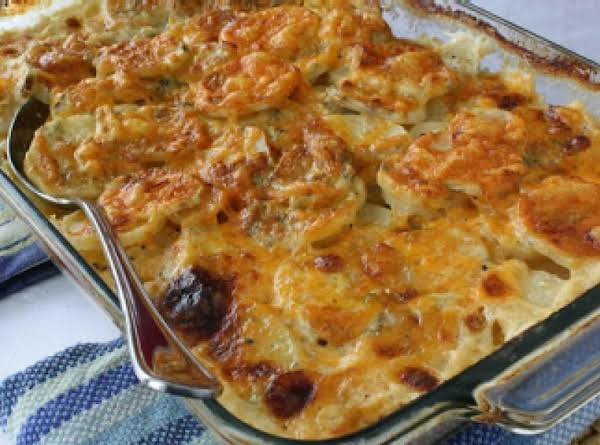 Scalloped Potatoes With Three Cheeses Recipe
