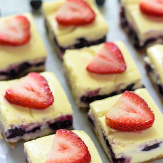 Red White and Blueberry Cheesecake Bars.