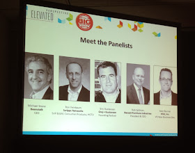 """Photo: Nice presentation by some familiar names at """"HGTV Home: Bringing Inspiration and Education to Life at Retail, moderated by Michael Stone, CEO, Beanstalk. #nrf14"""