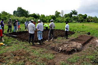 Photo: Training plot is being prepared (left), SRI nursery after seeding (right) - the seeds are protected with a mulch layer