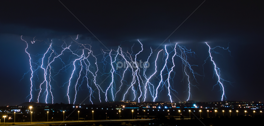 Lightning Barrage by Craig Powell - Landscapes Weather ( lightning strike, lightning, lightning storm, thunderstorm, centurion, pretoria, south africa, electric storm, weather, storm,  )