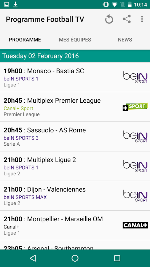 Programme Football- screenshot