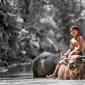 Looking the future by Mas Arey - Digital Art People ( child, art, human interest, landscape photography, people )