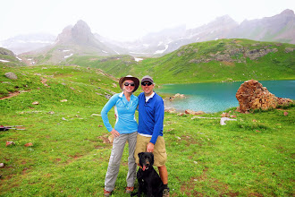 Photo: Lower Ice Lake. Note Lucy's dirty nose from digging for chipmunks