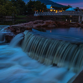 Medicine Park Evening Flow by Kathy Suttles - City,  Street & Park  Neighborhoods ( medicine park, flowing water, bath lake, long exposure, scenic, oklahoma, pink sky, suttleimpressions,  )