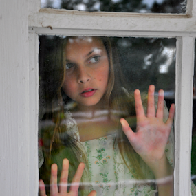 Waiting by Emily Vickers - Babies & Children Child Portraits ( child, reflection, window, vintage, hands, dress, glass, child portrait )