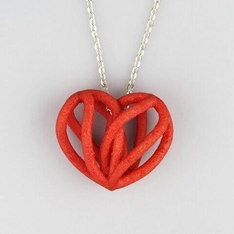 3D модель кулона спиральное сердце