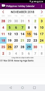 2018 Philippines National Holiday Calendar - náhled