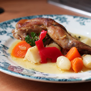 Braised Rabbit with Parsnips, Carrots and Pearl Onions Recipe