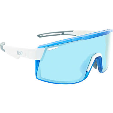 Optic Nerve Fixie Max Sunglasses - Shiny White, Crystal Blue Lens Rim, Brown Lens with Blue Mirror