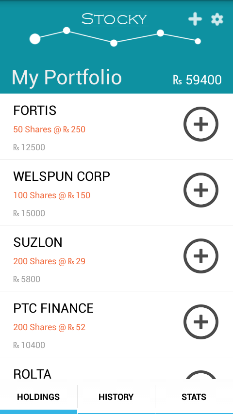 Stocky : Stock Portfolio- screenshot