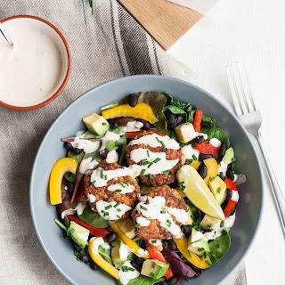 Cajun Salmon Slider Salad with Habanero Lime Dressing.