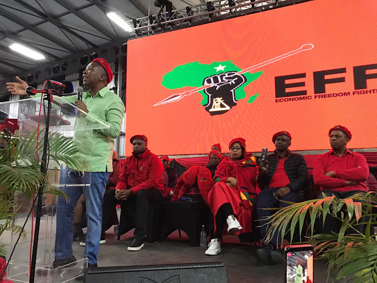 EFF leader Julius Malema speaks at the party's Women's Day event in Pietermaritzburg on Thursday.