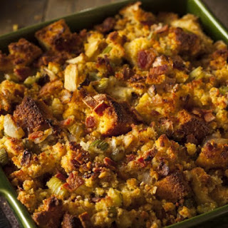 Cornbread Dressing Made With Neck Meat.