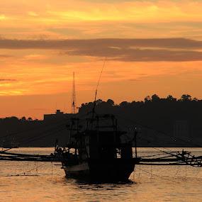 sunset boat by Irfan Andariska - Transportation Boats