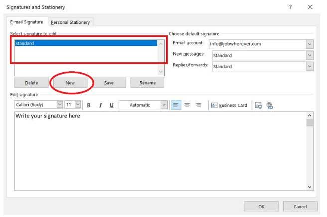 Create new signature Outlook