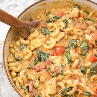 Instant Pot Creamy Garlic Tuscan Chicken Pasta.
