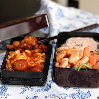 Salmon and Marinated Shrimp Salad for Bento
