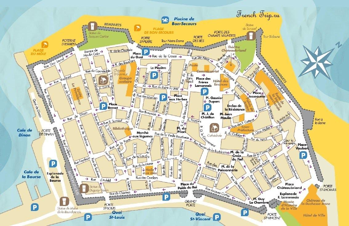 Парковки на карте Сен-Мало - на машине в Сен-Мало, парковки в Сен-Мало
