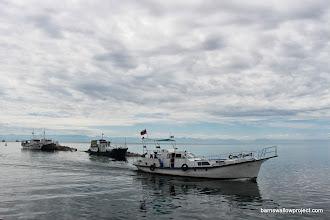 Photo: boats at the wharf at Listvianka, east coast of Baikal