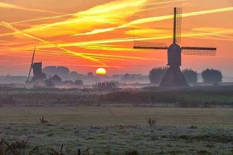 Photo: Nederland - Natuur - molens bij zonsondergang Foto: Nathalie van der Linden