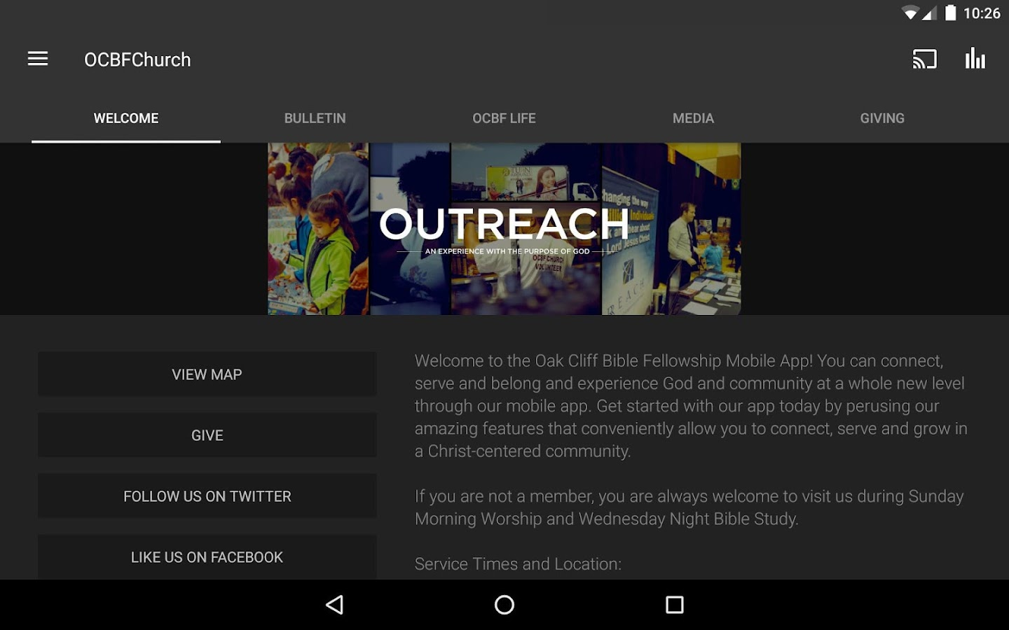 OCBFChurch App- screenshot