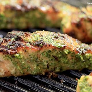 Grilled Salmon with Asiago Pesto Video.