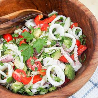 Calamari salad with fennel and avocado #SundaySupper