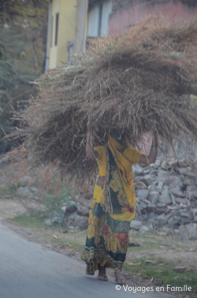 Femme portant bois
