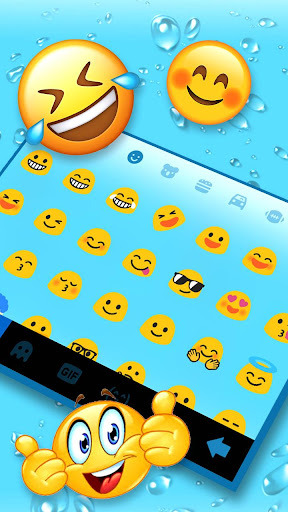 Blue 3d Waterdrops Keyboard Theme 1.0 screenshots 3