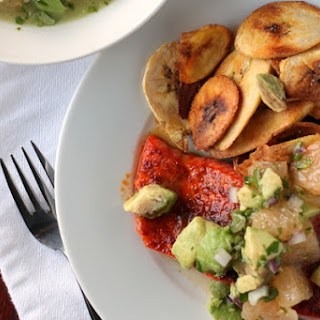 Salmon with Avocado Grapefruit Salsa and Baked Plantain Chips
